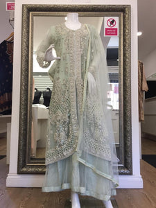 Mint Green Ladies Long Tail Frock with Jacket