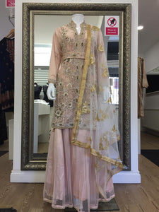 Pink Long Kameez Ladies Lehenga