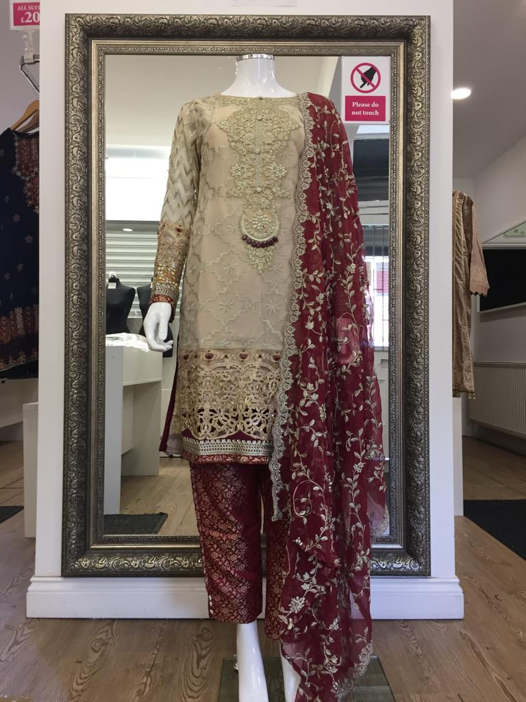 Beige and Maroon Maria B Inspired Ladies Suit