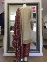 Load image into Gallery viewer, Beige and Maroon Maria B Inspired Ladies Suit