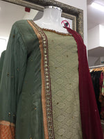 Load image into Gallery viewer, Green Fixed Jacket Sharara Ladies Suit