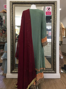 Green Fixed Jacket Sharara Ladies Suit