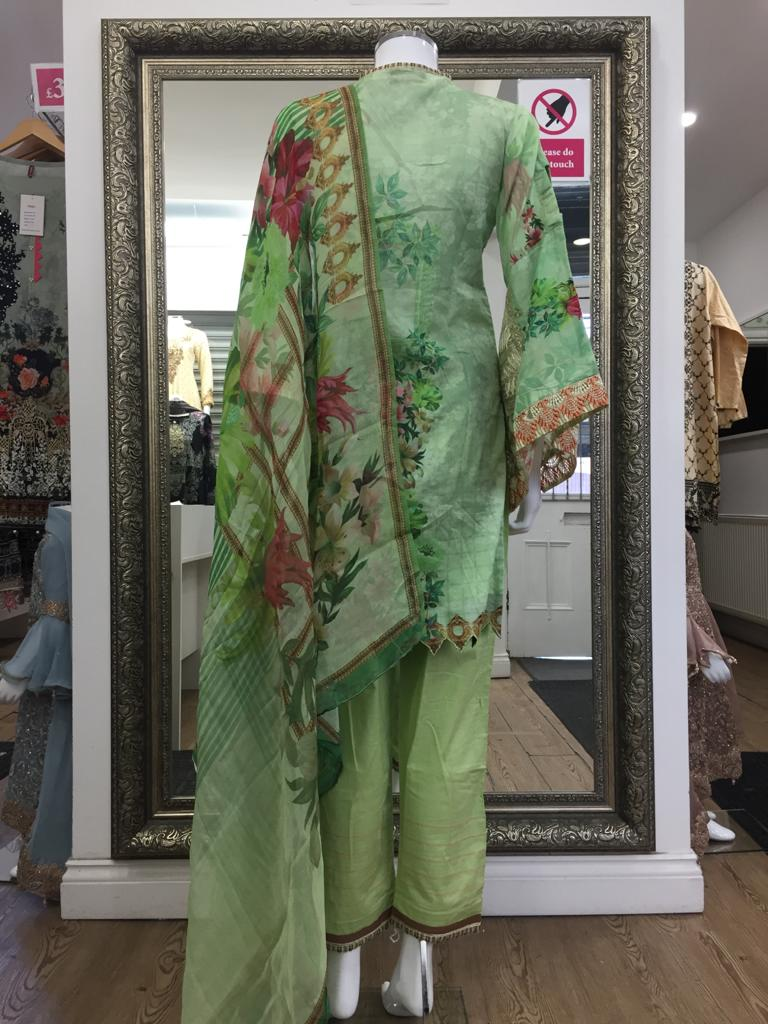 Green Summer Pure Cotton Ladies Suit