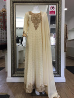 Load image into Gallery viewer, Cream and Gold Heavy Ladies Long Frock