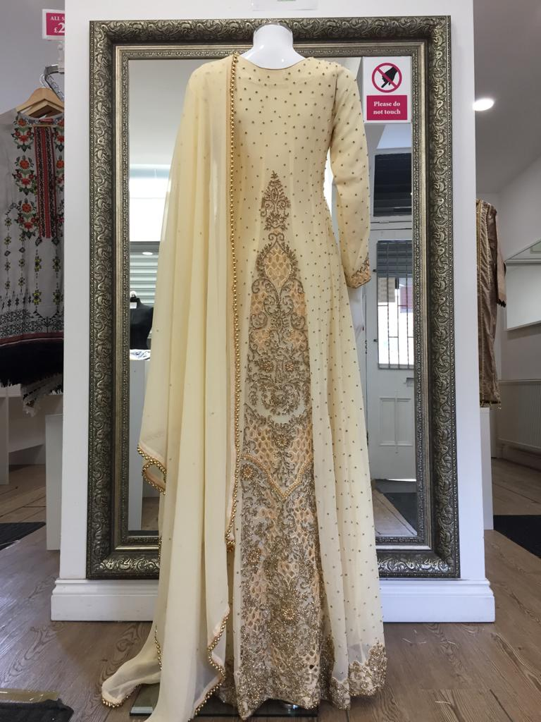 Cream and Gold Heavy Ladies Long Frock