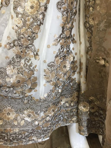 White and Gold Georgette Sharara Ladies Suit
