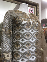 Load image into Gallery viewer, White and Gold Georgette Sharara Ladies Suit