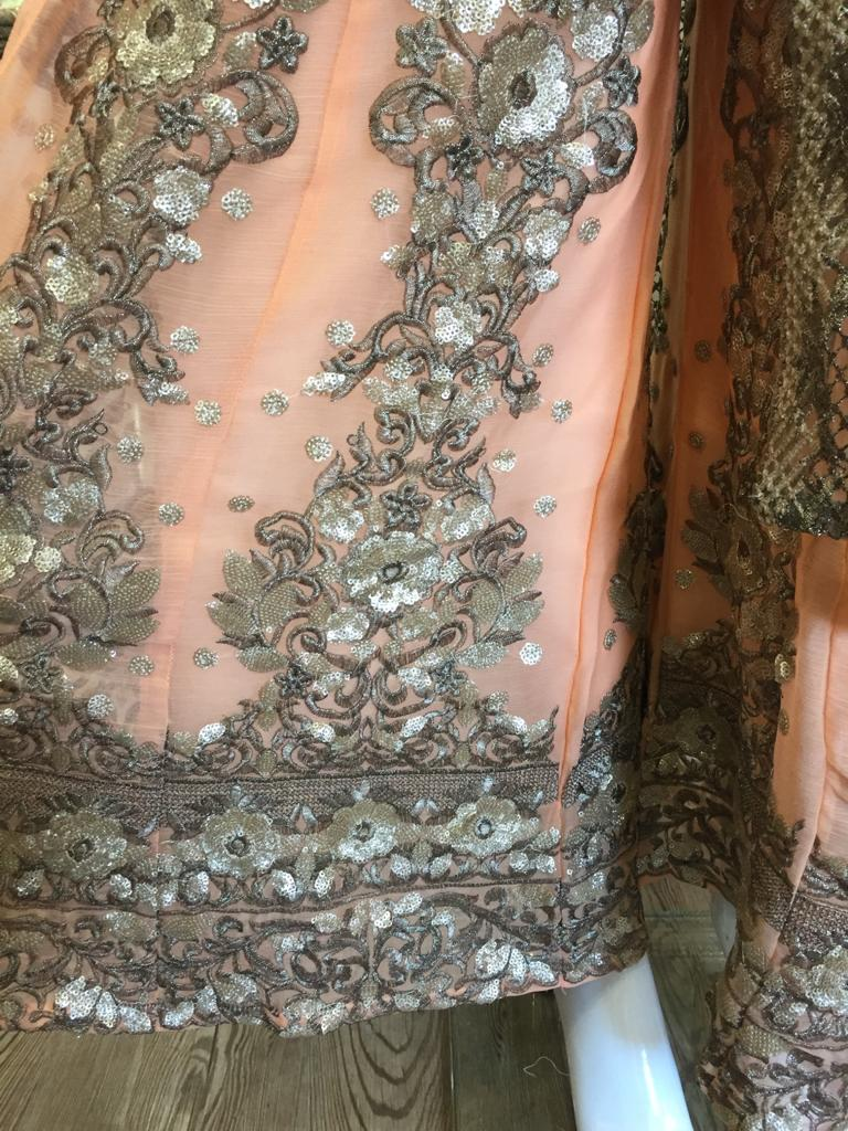 Peach and Gold Mother Daughter Georgette Sharara Ladies Suit