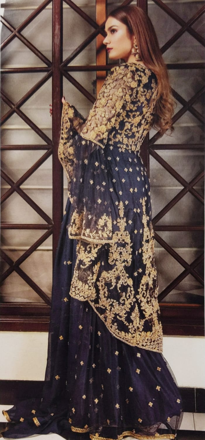 Navy Blue Sharara Embroidered IVANA Luxury Chiffon Ladies Frock