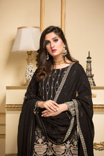 Load image into Gallery viewer, Black Pearl Lotus Luxury Chiffon Ladies Suit