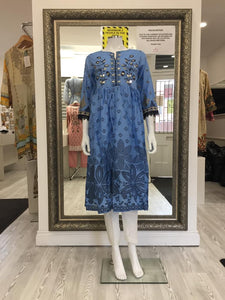 Blue Frock Embroidered Ladies Kurti