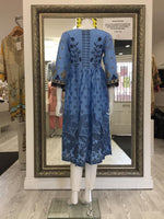Load image into Gallery viewer, Blue Frock Embroidered Ladies Kurti