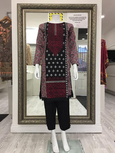 Black and Red Embroidered Ladies Kurti