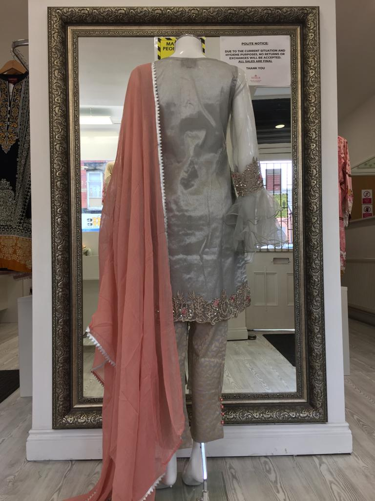 Silver and Pink Ladies Suit