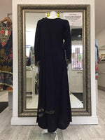 Load image into Gallery viewer, Navy Blue Linen Rafia Style Ladies Frock