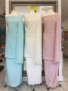 Chiffon Chikan Work Unstitched Suit (6 Colours)
