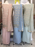 Load image into Gallery viewer, Shiny Resham Work Unstitched Suit (6 Colours)