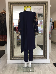 Navy Blue Linen Ladies Suit