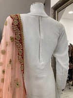 Load image into Gallery viewer, White and Pink Lucknowi Ladies Suit