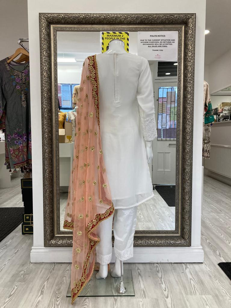 White and Pink Lucknowi Ladies Suit