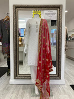 Load image into Gallery viewer, White and Red Lucknowi Ladies Suit