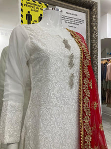 White and Red Lucknowi Ladies Suit