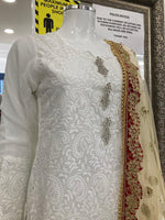 Load image into Gallery viewer, White and Gold Lucknowi Ladies Suit