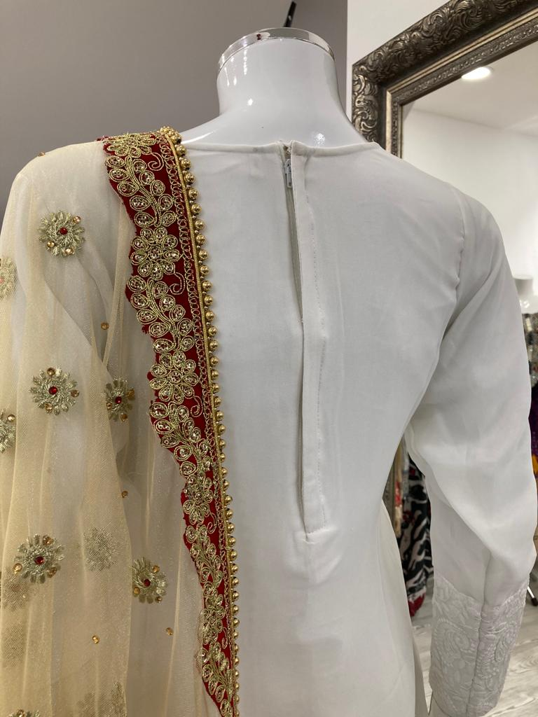 White and Gold Lucknowi Ladies Suit