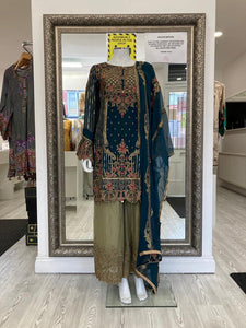 Dark Teal and Green Rafia Style Ladies Suit
