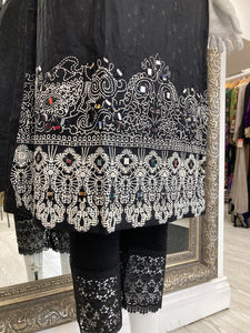 Black Linen Ladies Kurti