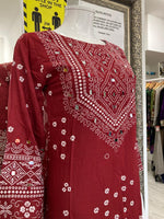 Load image into Gallery viewer, Red Linen Ladies Kurti