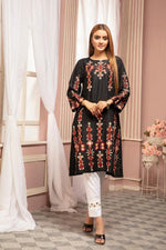 Load image into Gallery viewer, Black Embroidered Ladies Kurti