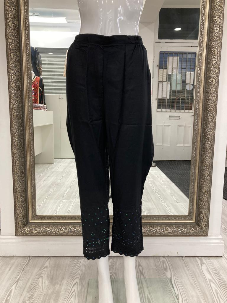 Black Linen Ladies Trousers