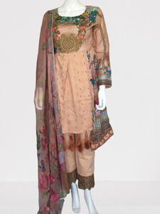 Peach Tulip Embroidered and Digital Print Lawn Suit Frock Style
