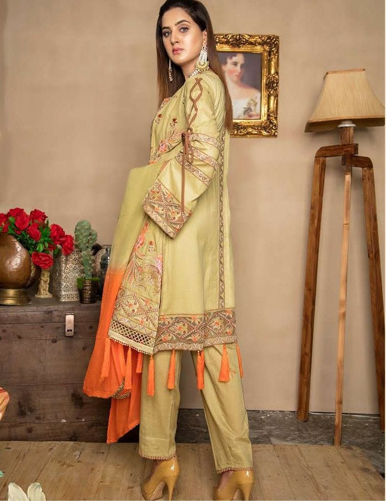 Mustard Embroidered Lawn Ladies Suit
