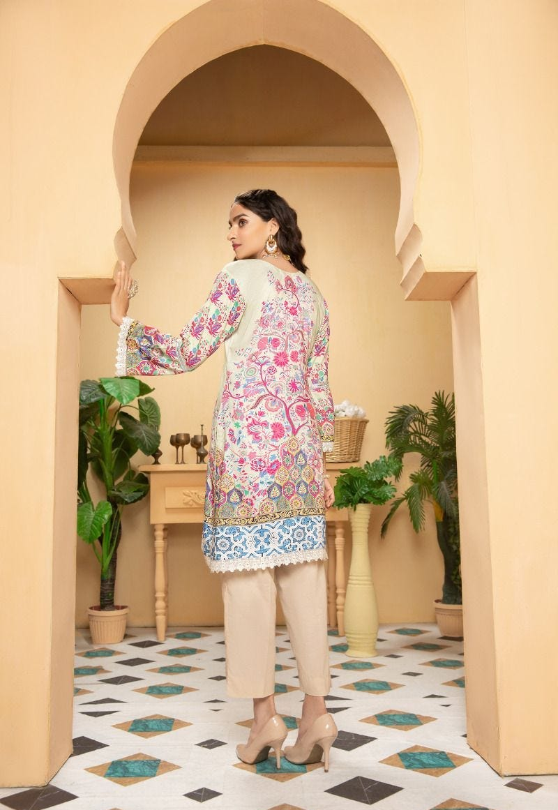 Cream Munira Designer Ladies Kurti
