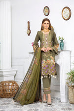 Load image into Gallery viewer, Green Linen by Munira Ladies Suit