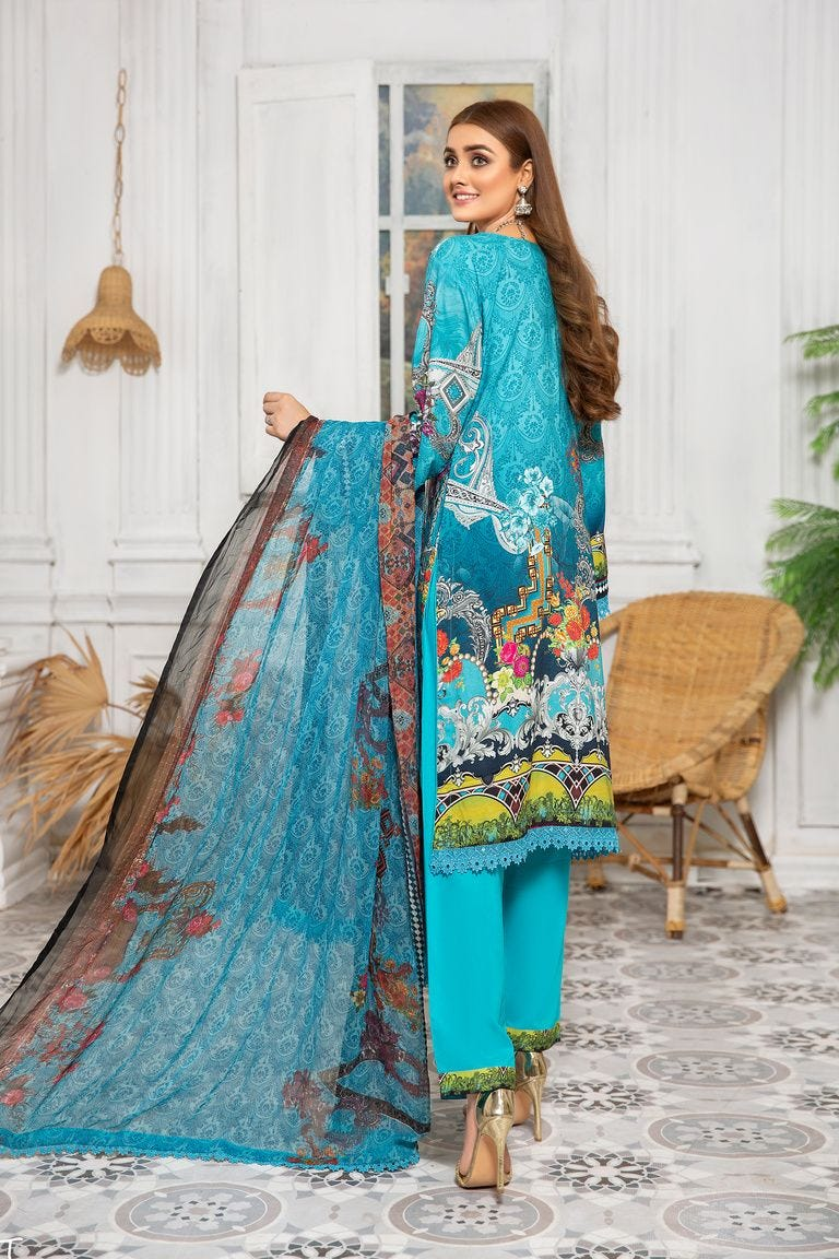 Blue Linen by Munira Ladies Suit