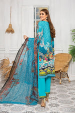 Load image into Gallery viewer, Blue Linen by Munira Ladies Suit