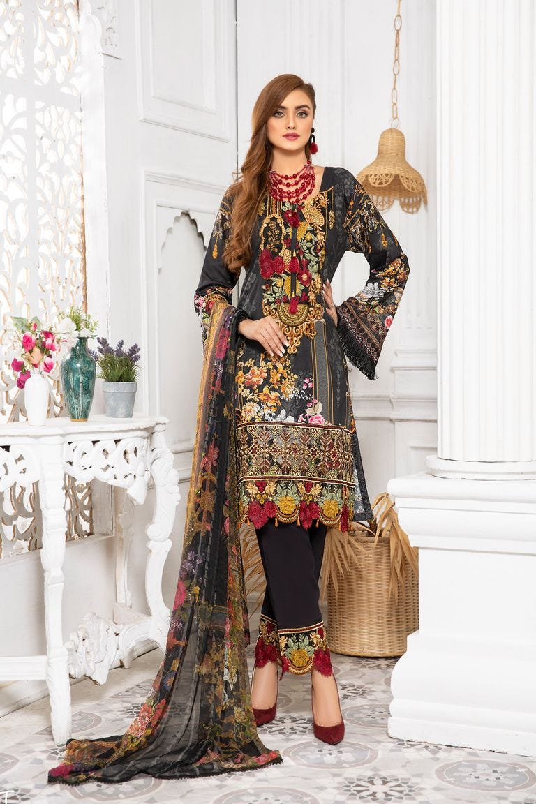 Black Linen by Munira Ladies Suit