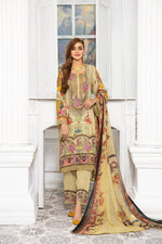 Load image into Gallery viewer, Creamy Gold Linen by Munira Ladies Suit