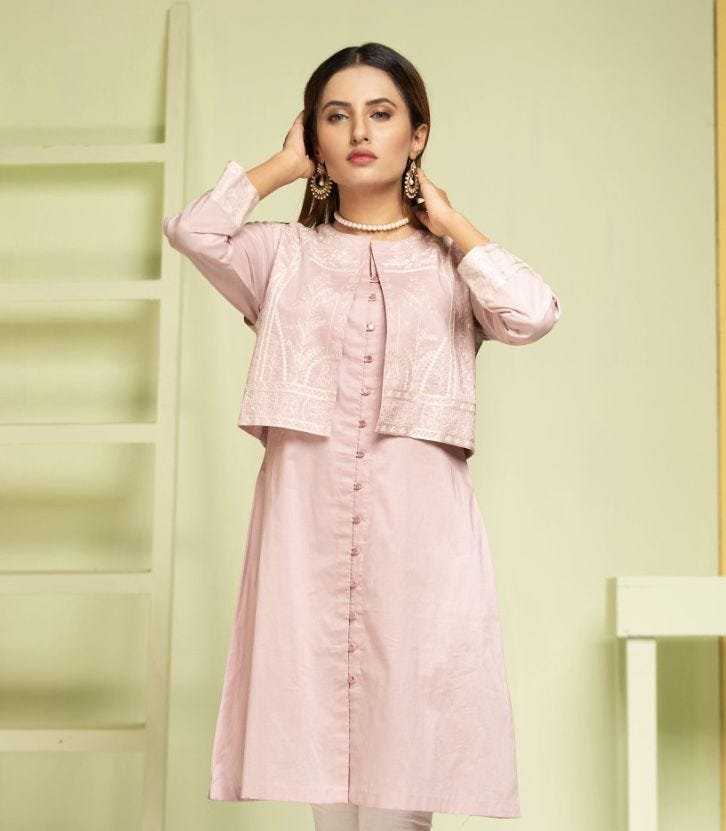 Pink Jacket Ladies Kurti
