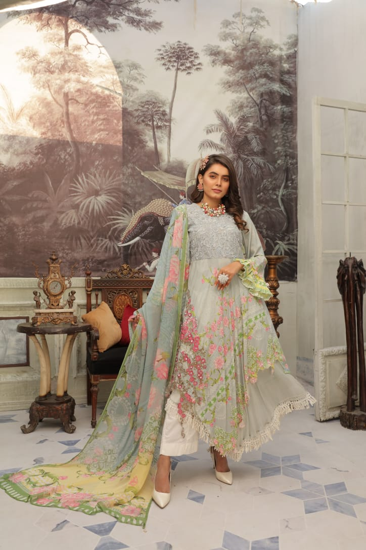Grey IVANA Luxury Lawn Ladies Frock