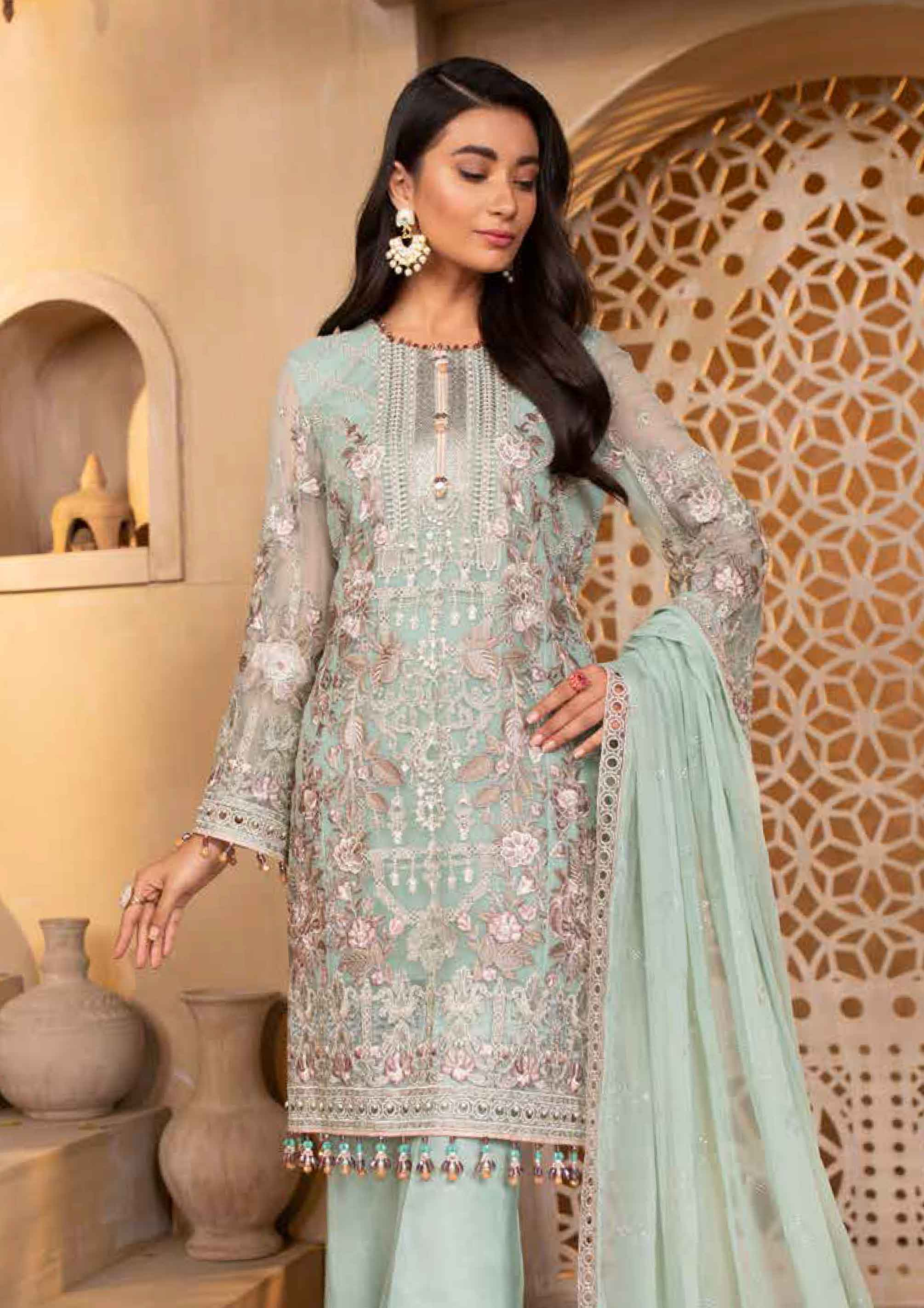 Mint Green 'Nile Mist' Chiffon Ladies Suit