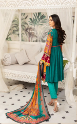 Load image into Gallery viewer, Teal Linen Fanaah Ladies Suit