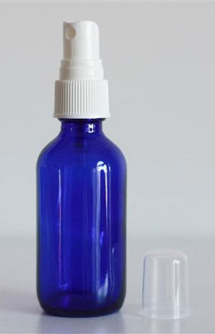 Blue Glass Bottle with White Mister - 2 oz