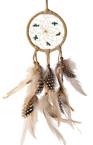 "Dream Catcher 2.5"" Tan with Turquoise"