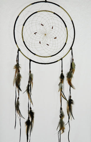 "Dream Catcher 12"" Double Ring Dark Brown & Tan"