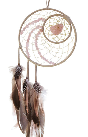 "Dream Catcher 6"" Tan Detailed with Rose Quartz"