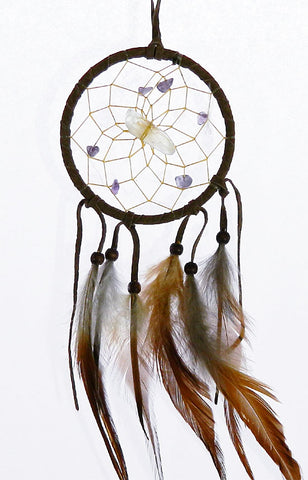 "Vision Seeker Dream Catcher 3"" Brown with Amethyst"